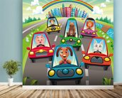 Colourful cars mural wallpaper in-room view