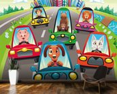Colourful cars mural wallpaper kitchen preview