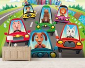 Colourful cars mural wallpaper living room preview