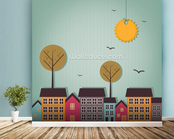 Cartoon town wallpaper wall mural wallsauce usa for Cartoon mural wallpaper