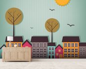Cartoon Town wall mural living room preview