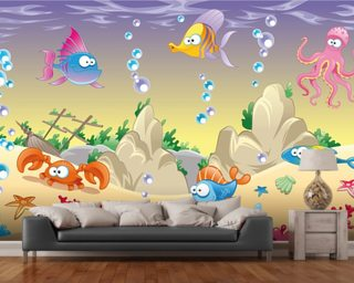 Sea Creatures mural wallpaper