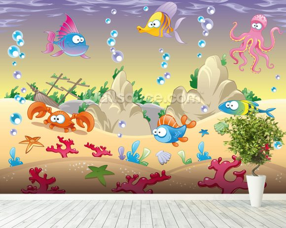 Sea Creatures mural wallpaper room setting
