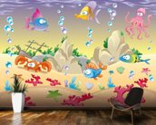 Sea Creatures mural wallpaper kitchen preview