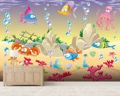 Sea Creatures mural wallpaper living room preview