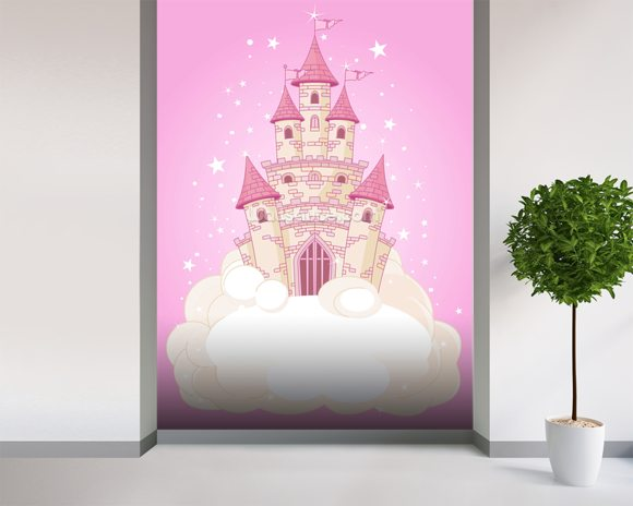 Fairy castle wallpaper wall mural wallsauce new zealand for Fairy castle mural