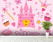 Princess Castle wall mural in-room view