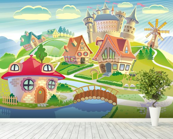 Castle Wall Mural fairytale land and castle wallpaper wall mural | wallsauce usa
