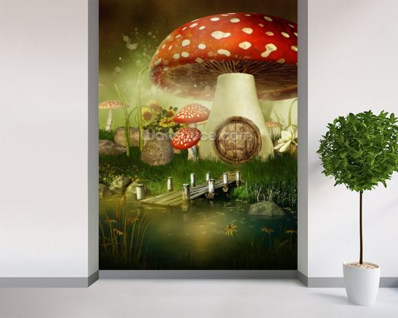 Toad Stool House wallpaper mural room setting