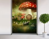 Toad Stool House wallpaper mural in-room view