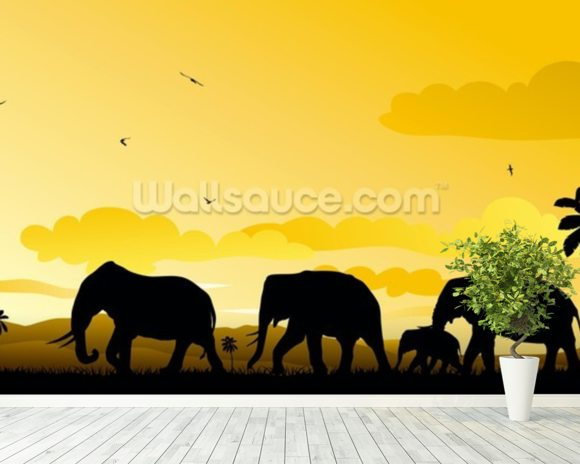 Elephants Cartoon mural wallpaper room setting