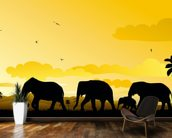 Elephants Cartoon mural wallpaper kitchen preview