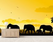 Elephants Cartoon mural wallpaper living room preview