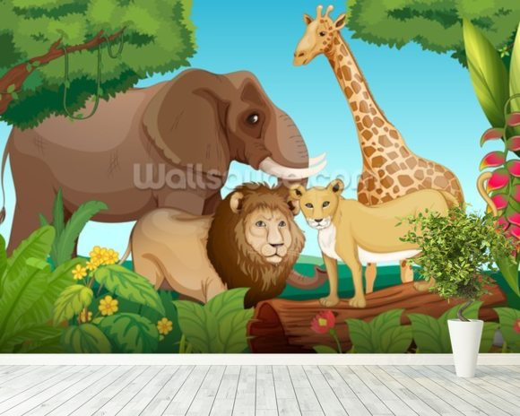 Jungle Animals wall mural room setting