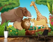 Jungle Animals wall mural kitchen preview