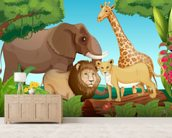 Jungle Animals wall mural living room preview