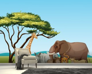 African Safari Cartoon wallpaper mural
