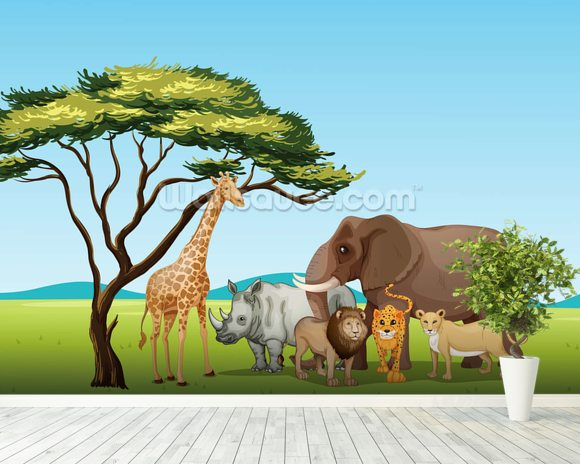 African safari cartoon wallpaper wall mural wallsauce canada for African wall mural