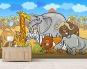 Wild Animals wall mural living room preview