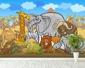 Wild Animals wall mural in-room view