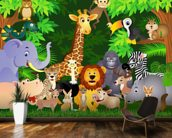 Animals In the Jungle wallpaper mural kitchen preview