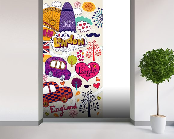 Colourful London wall mural room setting