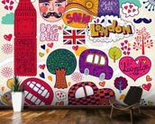 Colourful London wall mural kitchen preview