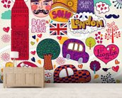 Colourful London wall mural living room preview