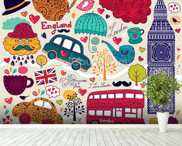 Kids London Montage wall mural room setting