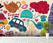Kids London Montage wall mural in-room view