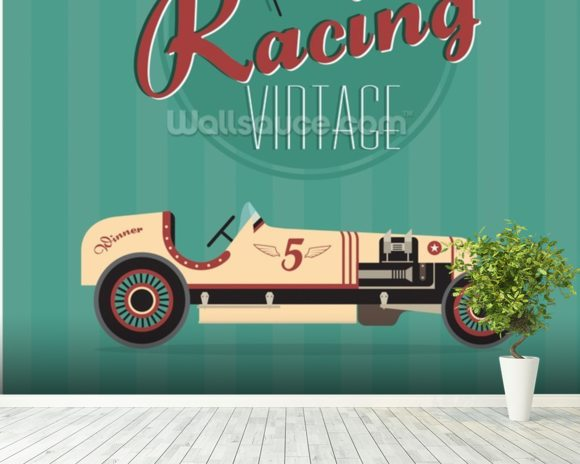 Vintage Racing Car wallpaper mural room setting