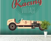 Vintage Racing Car wallpaper mural in-room view