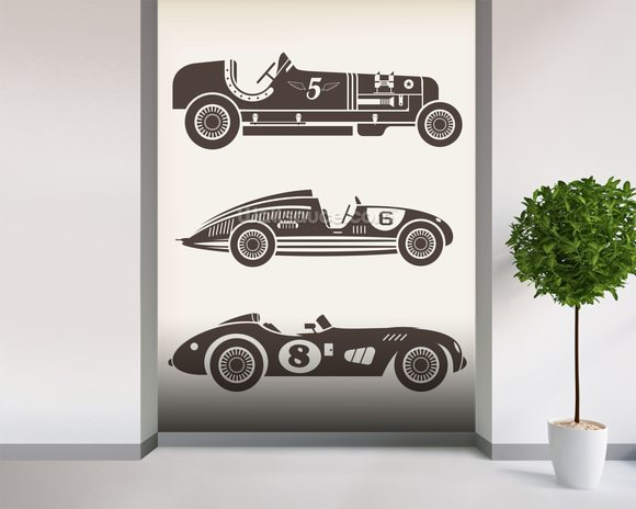 Vintage Racing mural wallpaper room setting