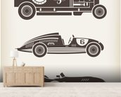 Vintage Racing mural wallpaper living room preview