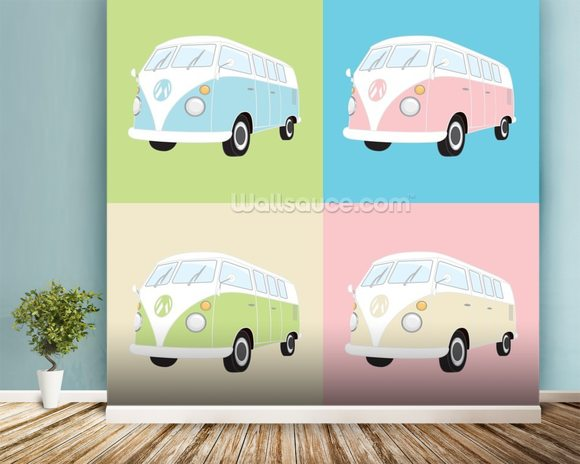 Colourful Campervans wall mural room setting