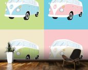 Colourful Campervans wall mural kitchen preview