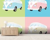 Colourful Campervans wall mural living room preview