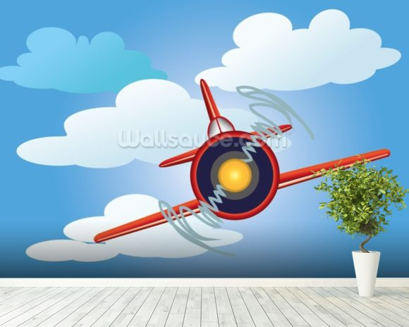 Cartoon Plane wallpaper mural room setting
