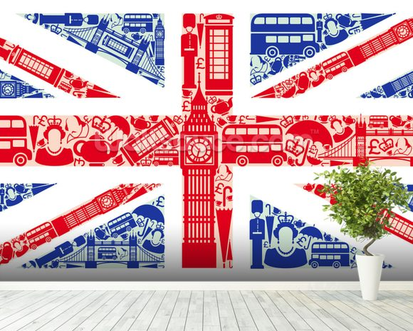 Union Jack Montage mural wallpaper room setting