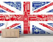 Union Jack Montage mural wallpaper living room preview