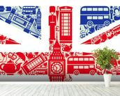 Union Jack Montage mural wallpaper in-room view
