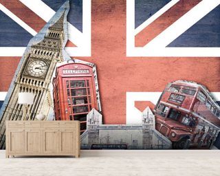 Union Jack London Collage Wall Mural Wallpaper Wall Murals Wallpaper