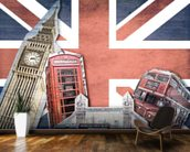 Union Jack London Collage wall mural kitchen preview
