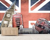 Union Jack London Collage wall mural living room preview