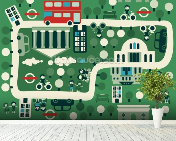 London Cartoon Map wallpaper mural room setting