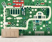 London Cartoon Map wallpaper mural living room preview