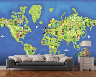 Kids map wallpaper childrens map wall murals wallsauce cartoon world map wall mural wallpaper gumiabroncs Choice Image