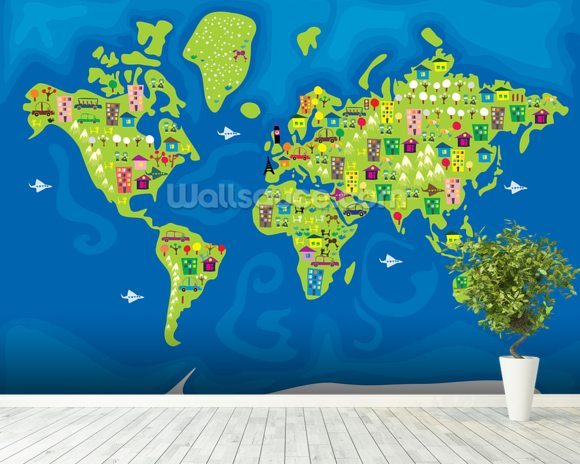 Cartoon world map wallpaper wall mural wallsauce australia cartoon world map mural wallpaper room setting gumiabroncs Choice Image