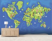 Cartoon World Map mural wallpaper living room preview
