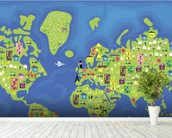 Cartoon World Map mural wallpaper in-room view